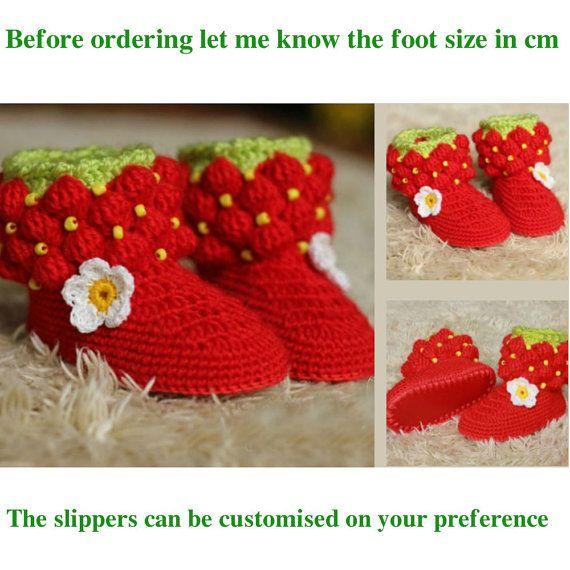 strawberry slippers crochet slippers girls slippers kids