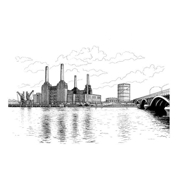 Battersea Power Station Line Drawing Print ($32) ❤ liked on Polyvore featuring home, home decor, wall art, european home decor, line drawing, paper wall art, bridge wall art and london bridge drawing