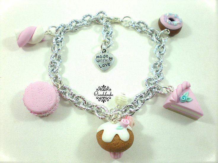 Bracciale+Dolcetti+rosa+in+fimo+di+Ciondolandia+Bijoux+su+DaWanda.com