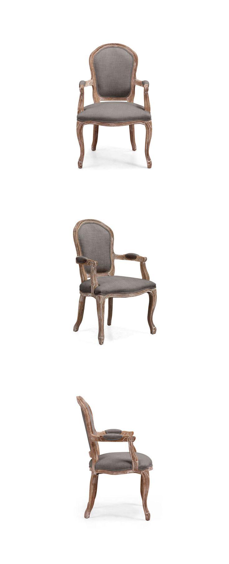 Silla inspirada en el estilo Luis XV con toda la forma de éste estilo, incluso hasta su pata cabriolé y sus cómodos descansabrazos. Fabricada en madera de roble y tapizada en tela lino con opción en color gris o beige. Dimensiones: 62cm x 56cm y altura de 99cm. www.bodegademuebles.com