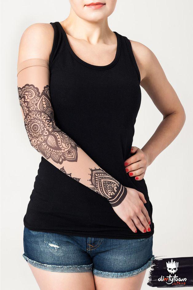Moda asiática - El manguito con el tatuaje Mandala Ornament - hecho a mano por dirrtytownclothing en DaWanda