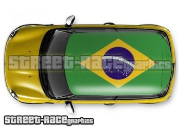 Brazil flag - printed and laminated (air release) vinyl car roof graphics.