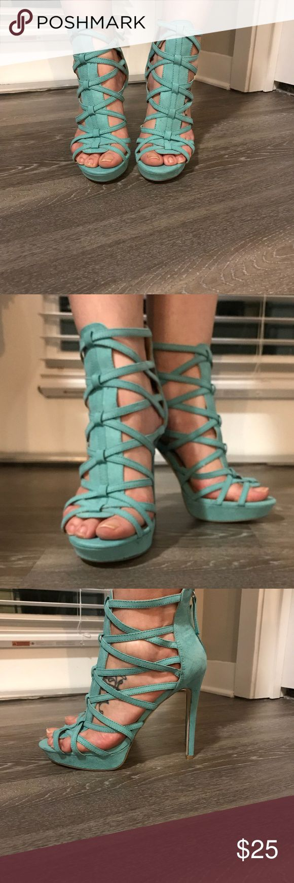 """Mint green heels Brand new Feminine faux suede crisscross straps make their way up your foot and stop at the ankle,Zip back. 5"""" heels and 1"""" platform  Fit: True to Size JustFab Shoes Heels"""