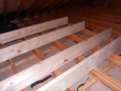 framing for attic storage platform--to keep blown insulation R-value