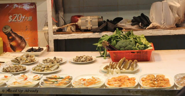 Display of vegetables and meat in one of the eating places ~~ Hong Kong