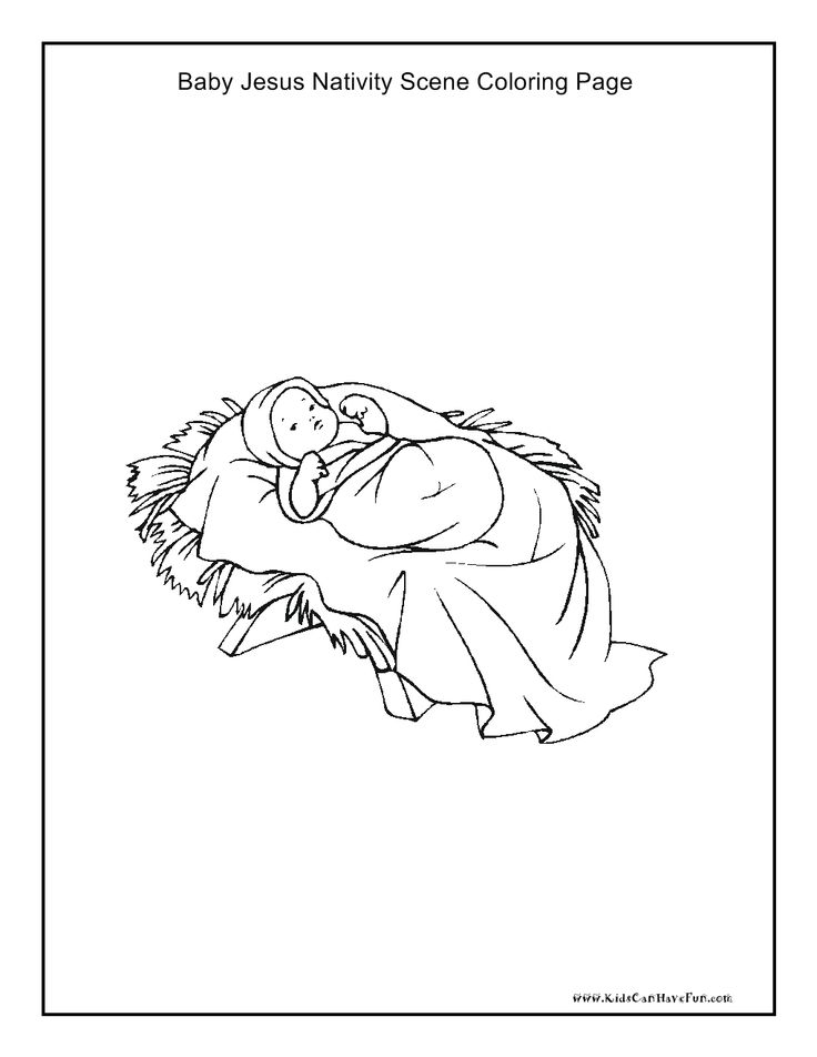 Baby jesus nativity scene coloring page http www for Baby jesus manger coloring page