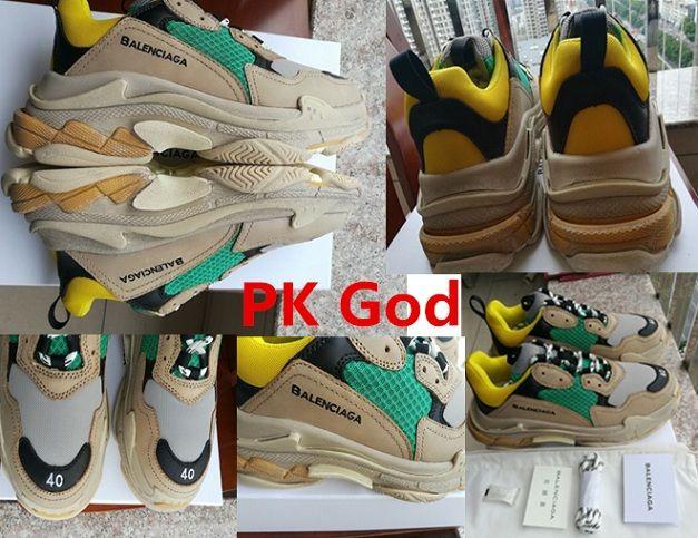 Balenciaga Triple S Trainer Pk God Yellow Green Original Legit Outlet Onsale On Feet Cheapest Lowest Sneakers Release Dat Sneaker Release Low Sneakers Sneakers