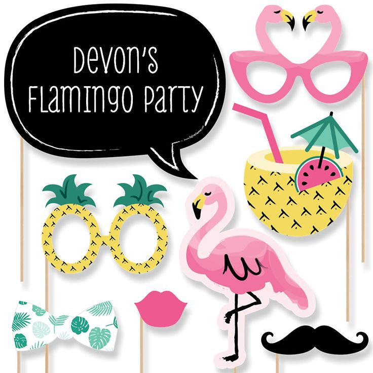 Flamingo - Party Like a Pineapple - 20 Piece Photo Booth Props Kit… You are having a photo booth or just having a party and you want great pictures. Here is what you want. You get 20 props and just watch your guests take pictures and see if they put it on Facebook. You will enjoy your pictures when you look at them later and will have a great time all over again. www.bigdotofhappiness.com #FlamingoPhotoBoothProp