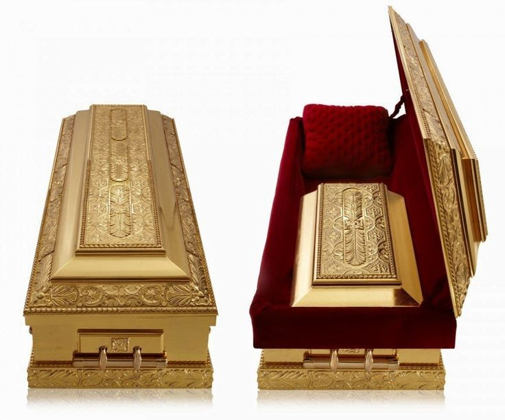 Made from 24 carat gold this $50,000 casket by Golden Caskets is the most expensive coffin in the world. Description from overheard.liketodiscover.com. I searched for this on bing.com/images