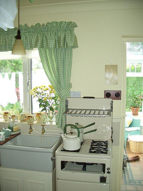 The Curtains Just Remind Me Of Grandma...along With The Vintage Stove.