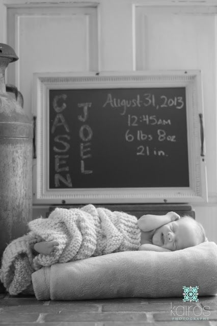 Write baby's birth stats on a chalkboard for newborn pictures - Cowboy newborn photo, country newborn pictures, Newborn photography, newborn pictures, sweet newborn photo, newborn boy photography, one week old pictures // Kairos photography - Springfield, MO and St. Louis, MO. newborn photographer