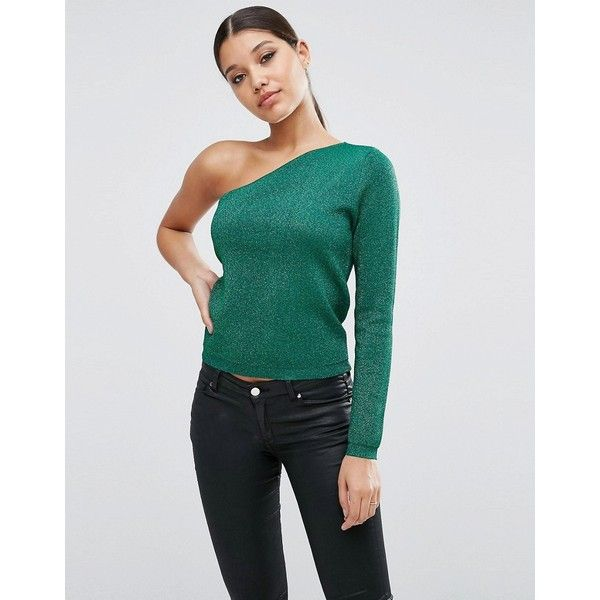 ASOS Jumper with Off Shoulder in Metallic ($31) ❤ liked on Polyvore featuring tops, sweaters, green, long sleeve sweater, green top, off shoulder tops, long sleeve jumper and off the shoulder knit sweater