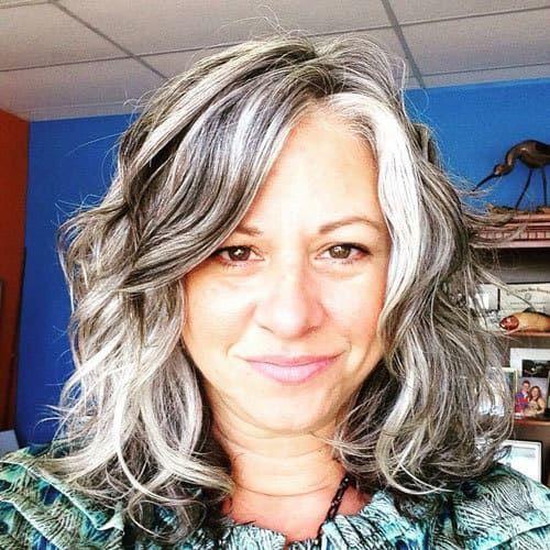 Sherry's Luscious Lengthy Grey Hair