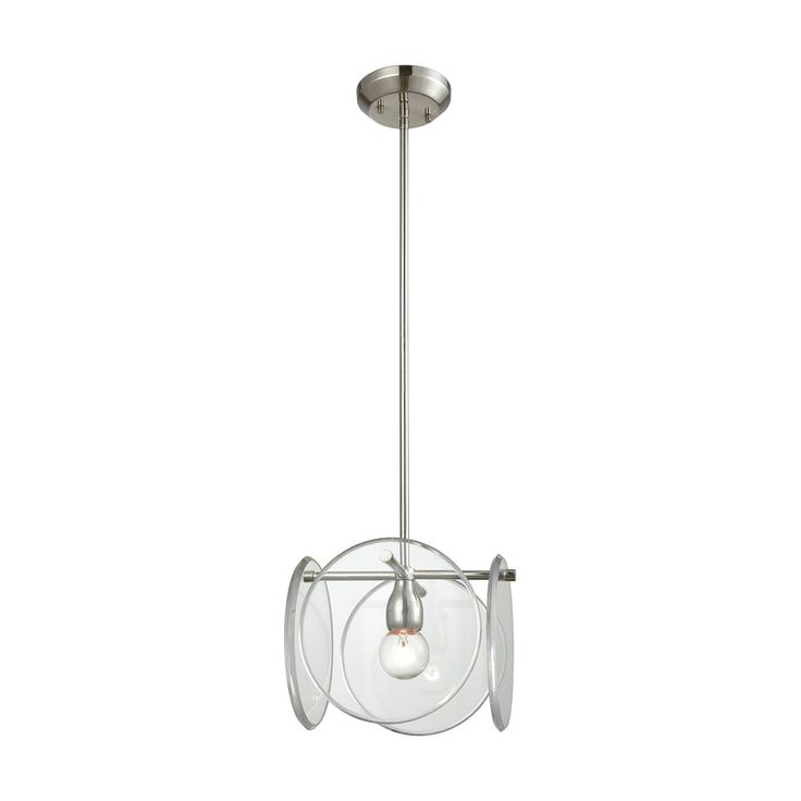 Disco 1 Light Pendant In Polished Nickel With Clear Acrylic Panels