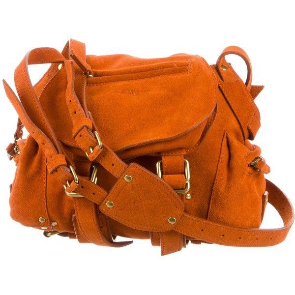 Pre-owned Jerome Dreyfuss Small Suede Twee Bag ($245) ❤ liked on Polyvore featuring bags, handbags, shoulder bags, orange, man bag, flap shoulder bag, preowned handbags, zipper purse and suede handbags
