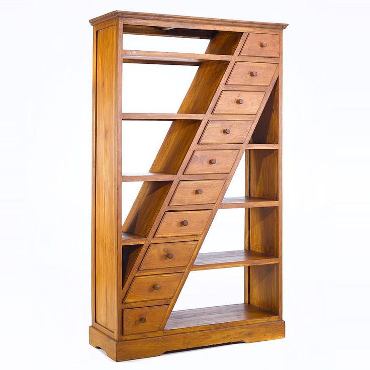 A beautiful simple bookshelf handcrafted of teak solid wood, ten drawers diagonally stacked from top right to bottom left corner
