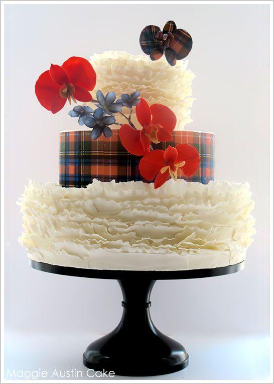 Scottish Tartan Ruffle Cake