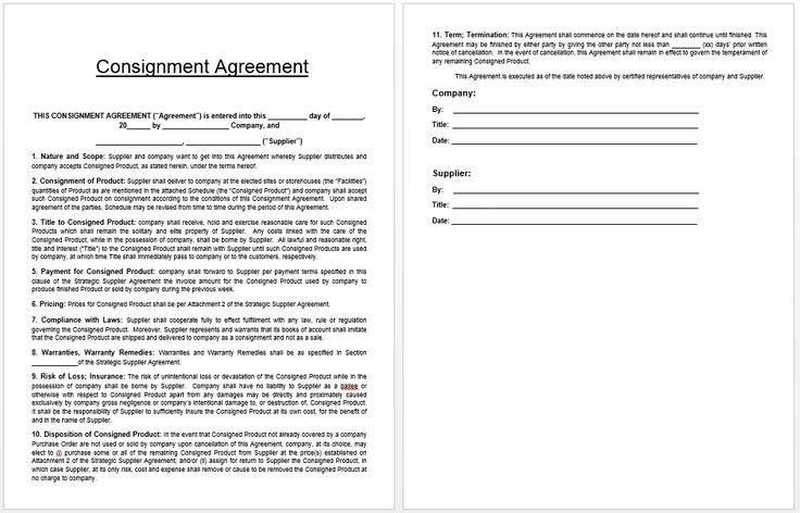 Consignment Agreement Template Templates Pinterest - consignment form template
