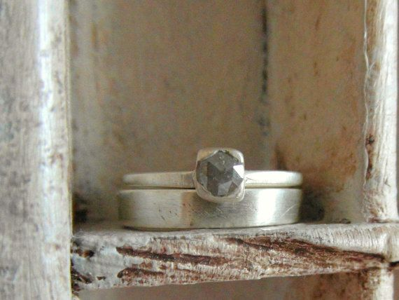 Raw Rough pave diamond-solitaire- engagement ring -one of a kind-handcrafted- wedding band set. $535.00, via Etsy.