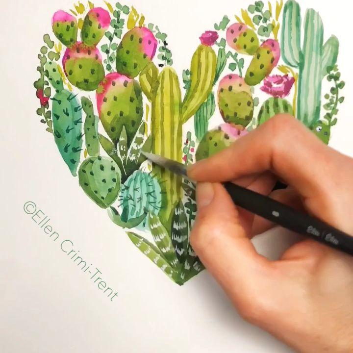 Watercolor Cactus Heart