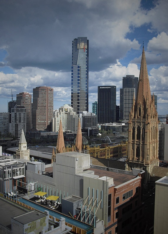 After several day passed over the building in Collin St, this shot came up by its self to tell a little story of the Victoria State main city: Eureka Tower, St. Jhons Catholic Church and the coolest swimming pool in town.