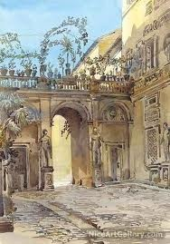 Palazzo Antichi Mattei, Rome  By: Augustus John Cuthbert Hare  Item #: 195968  Medium: Oil Painting Reproduction on Canvas