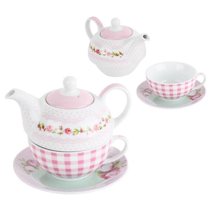 Romantic porcelain tea pot and mug set! Isn't this adorable? www.inart.com
