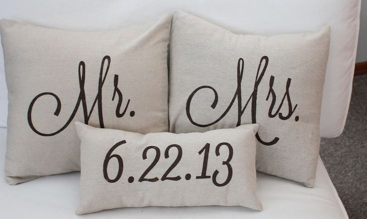 Mr. & Mrs. Custom Pillow with Wedding Date. via Etsy. MUST HAVE THESE!!!