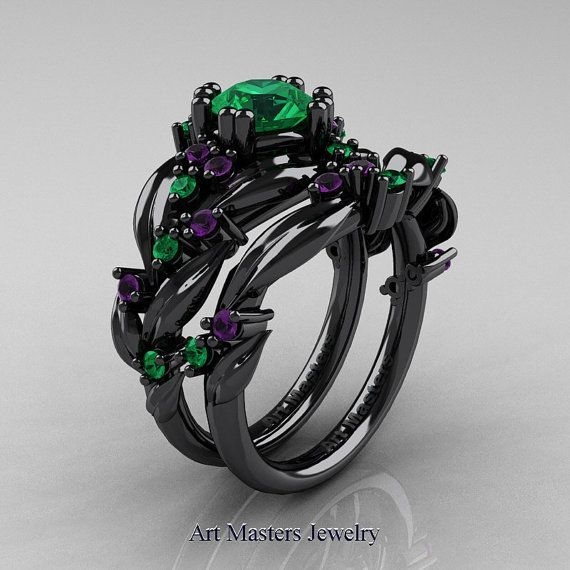 Luxurious, elegant and rich, the new Nature Classic 14K Black Gold 1.0 Ct Emerald Amethyst Leaf and Vine Engagement Ring Wedding Band Set