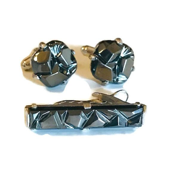 Excited to share the latest addition to my #etsy shop: Vintage Sarah Coventry Hematite Charcoal Tuxedo Cuff Link and Tie Bar Set #jewelry #gray #silver #cufflinks #men #sarahcoventry #tiebar #vintage #tuxedo