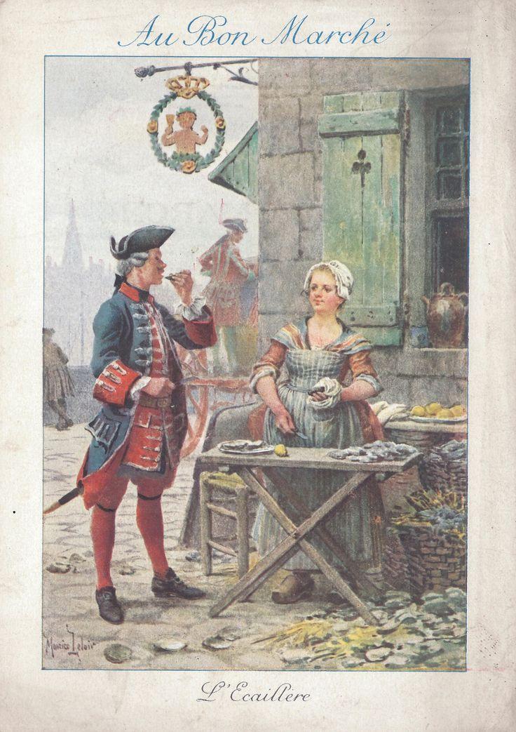 Apritrice di ostriche, 1909; su disegno di Maurice Leloir; pubblicità grandi magazzini Au bon marché, Parigi; dalla serie di 8 figurine 'Mestieri nella vecchia Parigi'