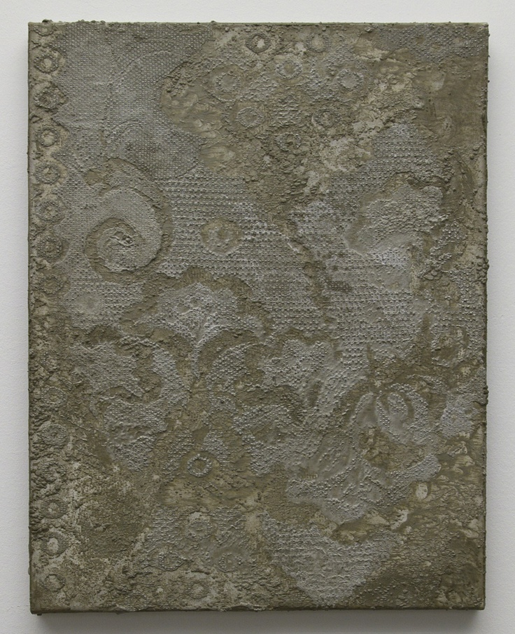 Naomi Safran-Hon, Cement Wall Invasion, 2010, 45.5x 35.5 cm, cement op canvas