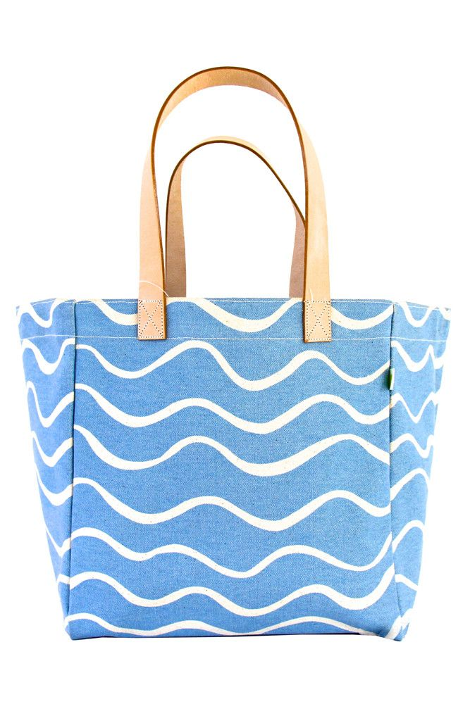 See Design Cube Tote Bag Wave Turquoise/White