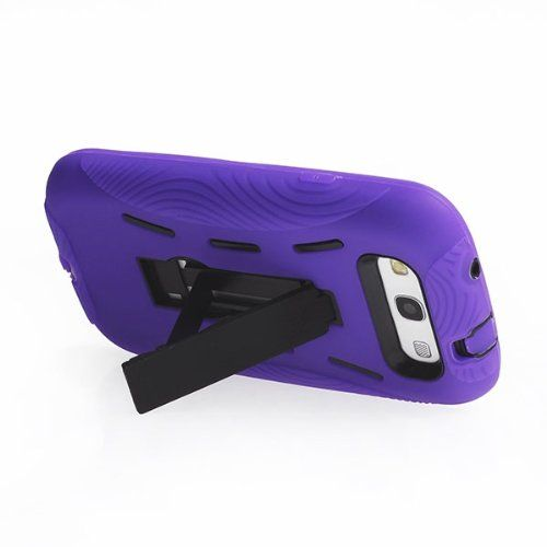 Buy DOUBLE IMPACT CASE + SCREEN PROTECTOR FOR SAMSUNG GALAXY S III I747 PURPLE BLACK NEW for 9.85 USD | Reusell