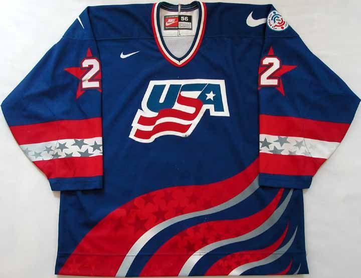 Brian Leetch World Cup Of Hockey Team Usa Authentic Jersey 1996 World Cup Of Hockey Hockey World Cup Usa Hockey Jersey Hockey Teams