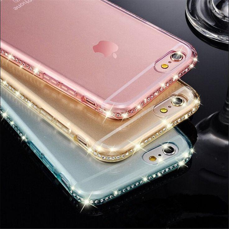 Diamante De Cristal Bling Do luxo Ultra Fino Gel Transparente Tampa Da Caixa de Telefone para iphone 5 5s 6 6 s 7 7 além da tampa do caso de volta sacos