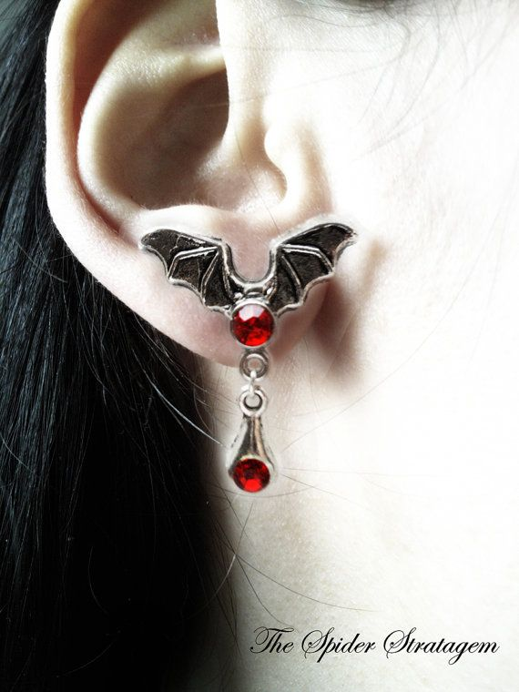 Gothic bat winged earrings 'Ruby red wings' by SpiderStratagem, €14.00
