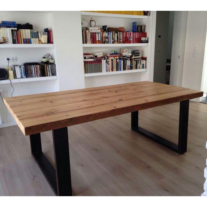 Mesas urbanvintage style mesa de estilo industrial for Mesas de cristal para comedor