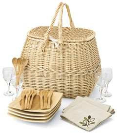 "eco-friendly picnic basket    We serve up a picnic basket you can feel good about using (or giving). Everything is natural and earth-friendly. The basket, handwoven of willow, has an insulated cotton lining. The 4 napkins are undyed cotton. It also comes with bamboo plates and utensils for 4; wine glasses made of recycled glass. Basket is 15"" x 11"" x 13"". Imported. (Sorry, gift wrapping not available.)  #31595  $148.00"