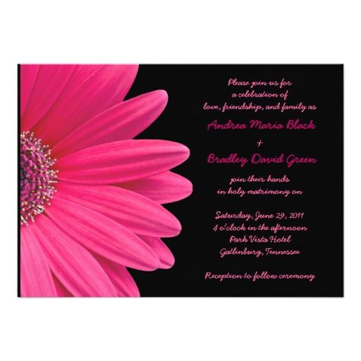 The text and background color on these pink gerbera daisy wedding invitations are fully customizable. You can change the text with the personalize options. For more extensive changes to this pink and black gerber daisy invitation, including changing the background color, font, font color, or text layout, use the customize option. The colors on this card are hot pink and black. It would be great for a wedding with a floral pink gerbera daisy theme. Fuchsia pink daisies are a vibrant and ...