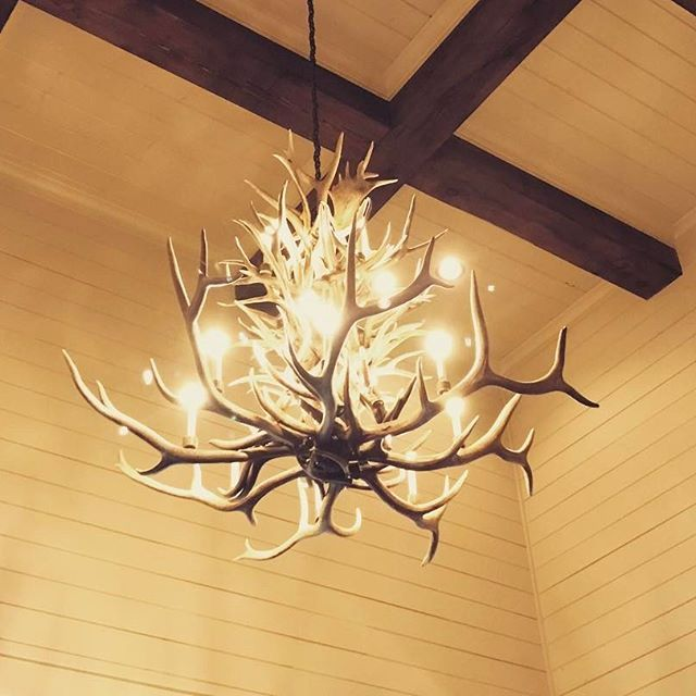 Thankful to the electricians that hoisted this large custom antler chandelier up over 30 to access doors large enough to get it into the house