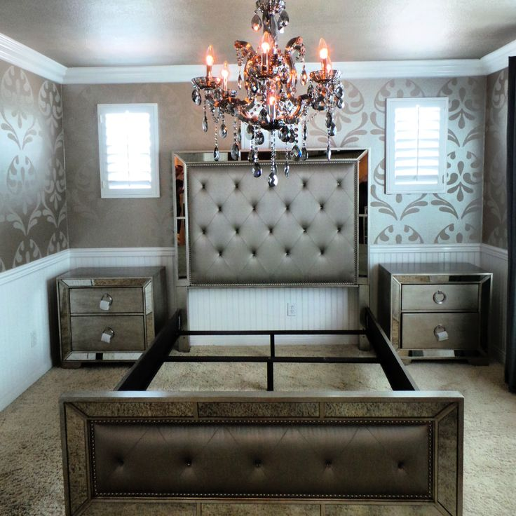 Guest room remodel still in progress. Enhance your home decor with this elegant Ava 5-piece mirrored and upholstered tufted queen-size bedroom set. This set features mirrored panels and includes a queen-size bed, two nightstands, one dresser and one mirror. #MercerChandelier #chandelier #zgallerie
