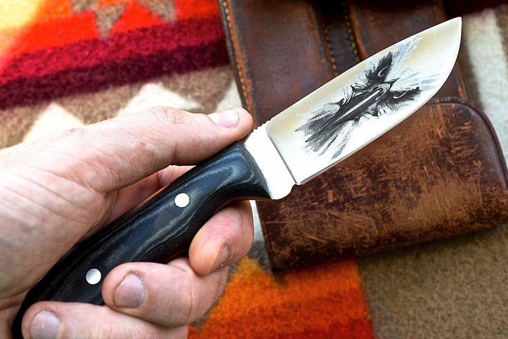 CFK USA Custom Handmade D2 Tool Steel EAGLES Hunting Skinning Knife Fire Starter
