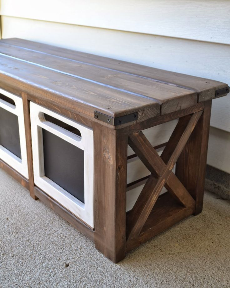 For the porch!! The Domestic Doozie: Custom Entryway Bench with Chalkboard Crates