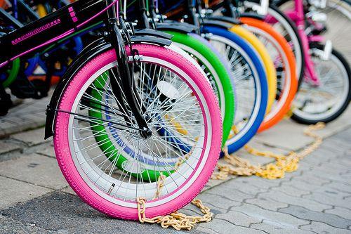 ride a bikeeee #colorful: Gold Chains, Riding A Bike, Bike Riding, Street Art, Colors Wheels, Inspiration Pictures, Bike Wheels, Hot Wheels, Pink Wheels