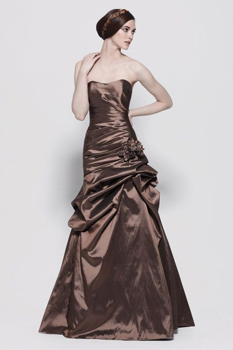 Strapless taffeta bridesmaid dress with dropped waist don't like the color,