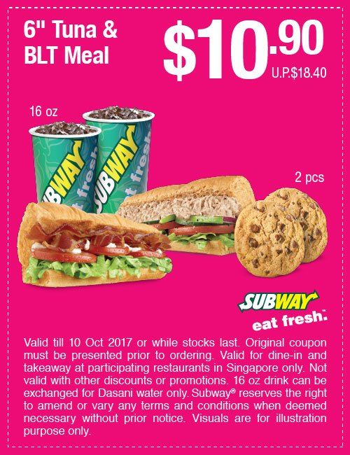 Subway Singapore: NEWEST Promotions and Coupon Deals for 2017