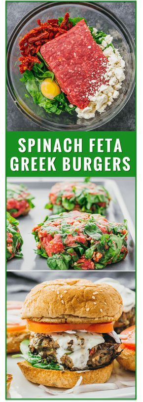 These healthy Greek burgers are made using ground beef mixed with spinach, feta, and sun-dried tomatoes, plus drizzled with a delicious tzatziki sauce. easy, recipe, turkey, garlic, lamb, chicken, 21 day fix, sides, sauce, seasoning, toppings, mediterranean, dinner, lunch, grilling, summer via @savory_tooth