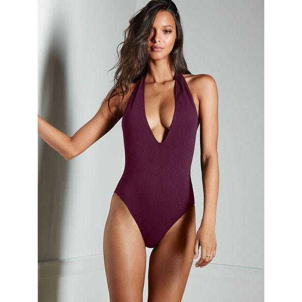 Victoria's Secret Halter Bodysuit (145 BRL) ❤ liked on Polyvore featuring intimates, shapewear and purple
