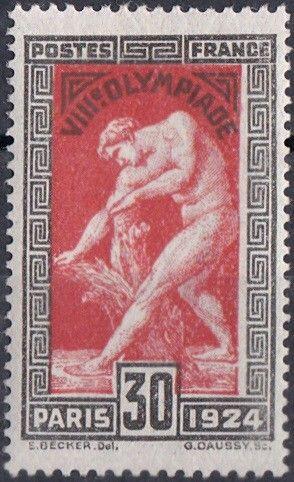 Statue de Milon de Crotone - 30c noir et brun rouge (Yvert et Tellier - Arthur Maury N°: 185)